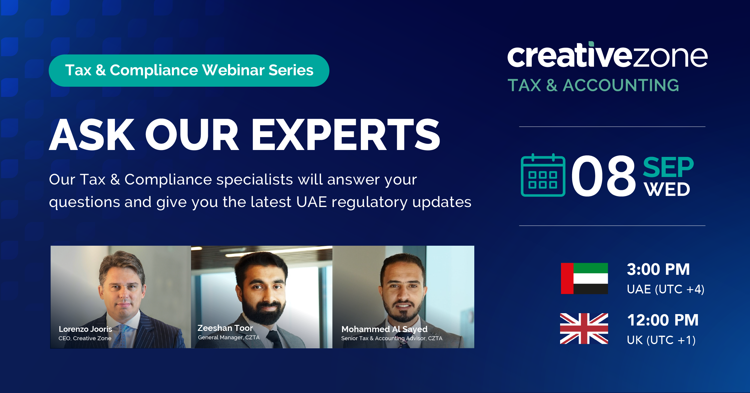 Creative Zone - Ask Our Experts: Tax & Compliance Webinar Series
